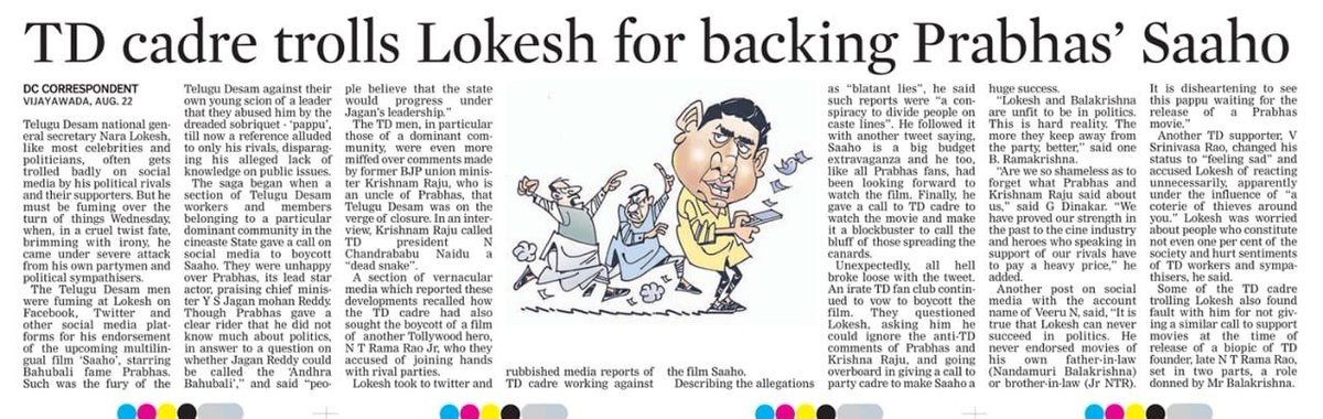 Dear @DeccanChronicle, when no one's going to live forever, isn't it worthwhile to spread love rather than hatred, spread kindness instead of malice? My comment on #Saaho  was precisely that! I hope you agree with me... <br>http://pic.twitter.com/Kjmh6ncSEI