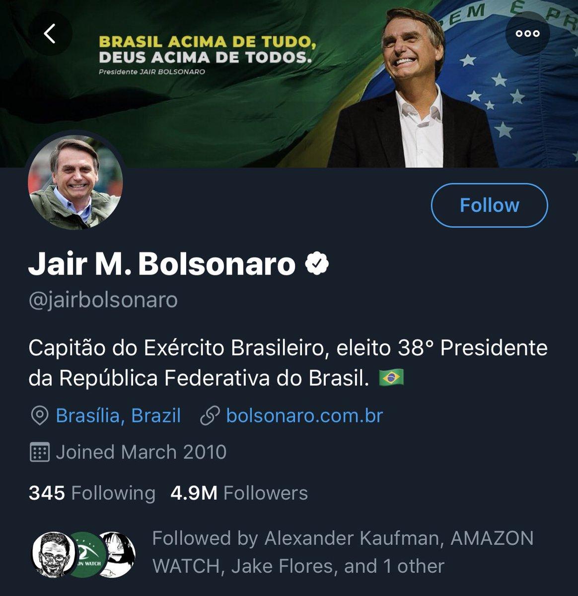 "Hmmm wonder what ""Twitter Rules"" Nicolás Maduro broke that Jair Bolsonaro is abiding by. <br>http://pic.twitter.com/lCt6r5jbQz"