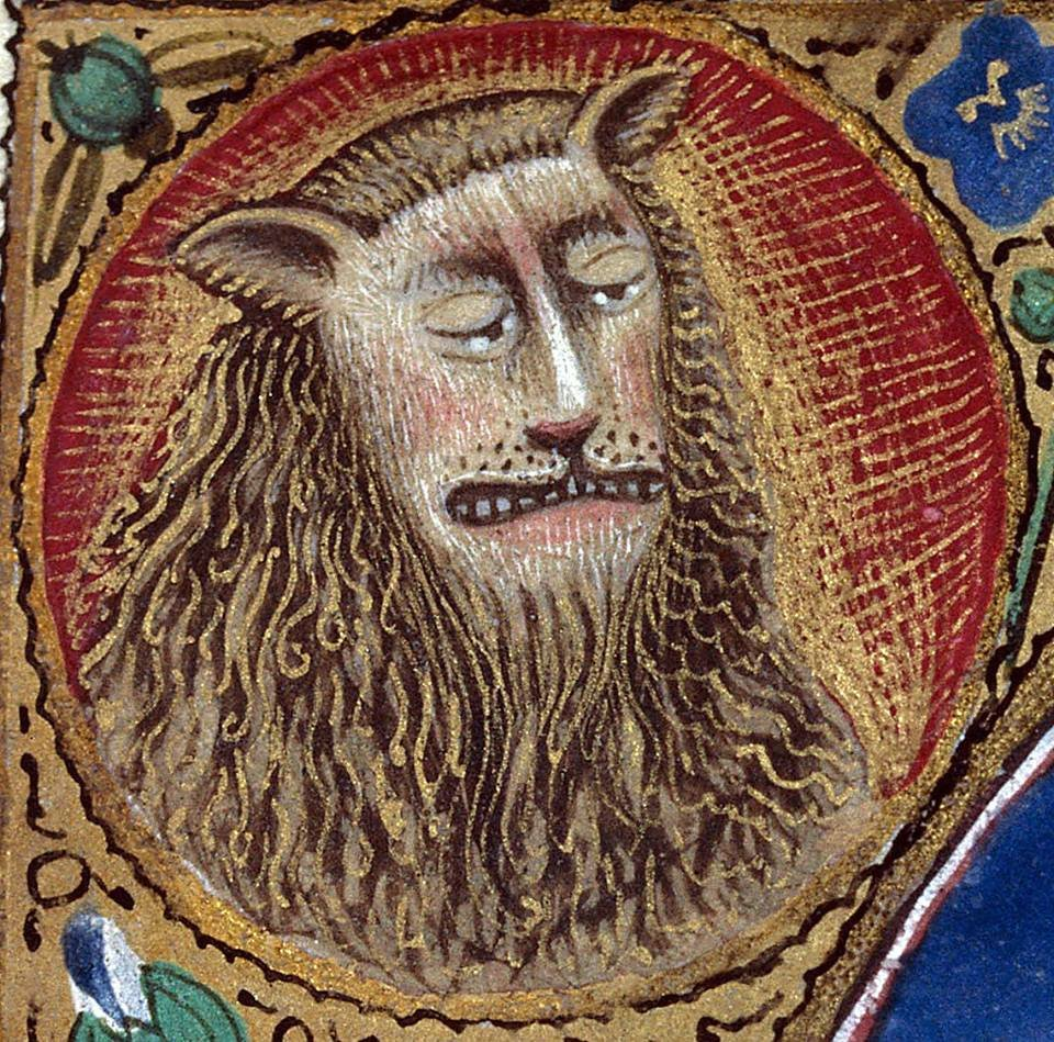 A thread of medieval lions who would rather not: This one is 1000% done with everyones shit today. (Clermont-Ferrand, Bibliothèque municipale, MS 84, f. 27r)