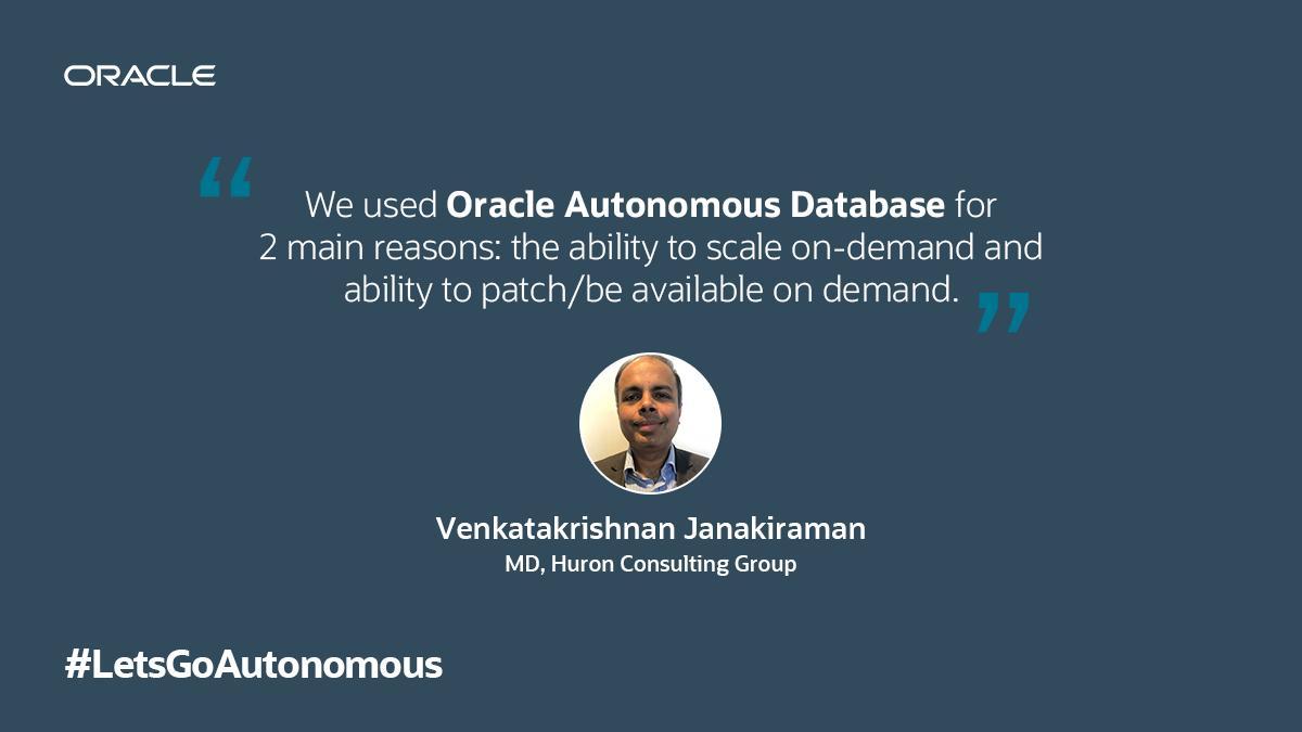 Venkatakrishnan Janakiraman, MD, Huron Consulting Group, shares his experience on how Autonomous revolutionizes data management!  #ExperienceAutonomous #LetsGoAutonomous<br>http://pic.twitter.com/7Qb1vr12Nn