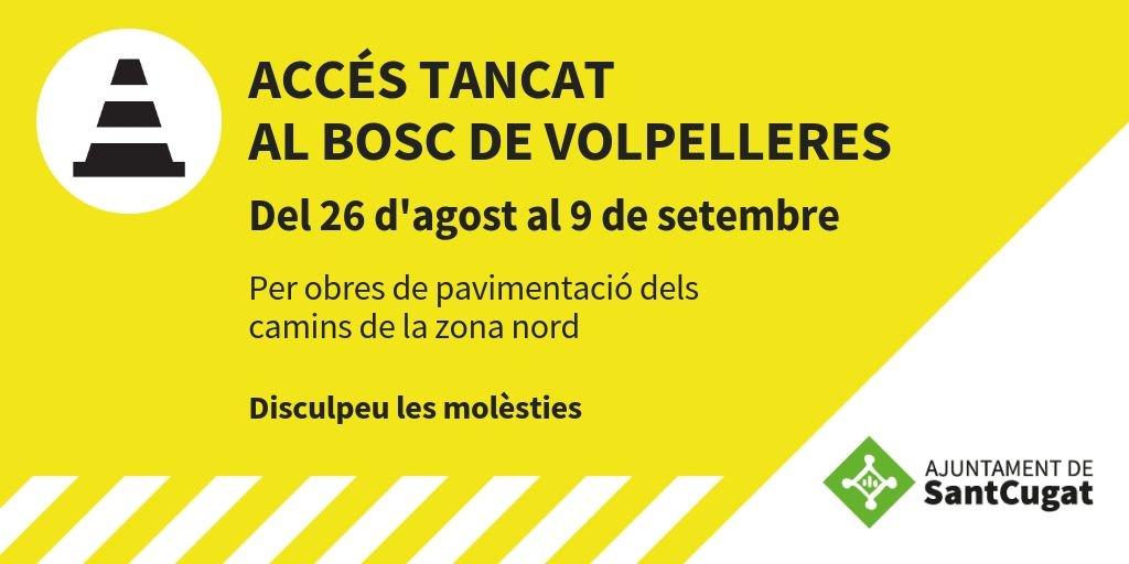 🚧 A partir de dilluns 26 d'agost es tancarà el bosc de Vollpelleres a #SantCugat per les obres de pavimentació dels camins de la zona nord. L'accés quedarà restringit per motius de seguretat. Es reobrirà el dia 9 de setembre.   @Volpelleres @fraduchaltet @LourdesLlorente