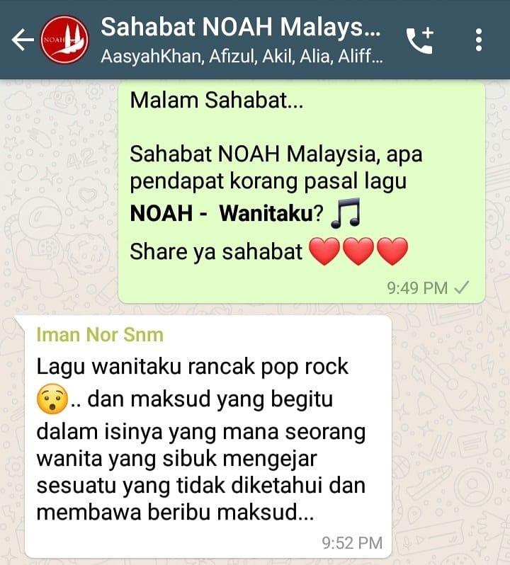 Ketika @sahabatmalaysia berbagi pendapat mengenai lagu @NOAH_ID - Wanitaku...  Nah, bagaimana menurut sahabat tentang Lagu Wanitaku? Paling setuju dengan pendapat siapa nih?  @MusicaStudios @R_besar  @UMDomestic  #ariel #sahabatmalaysia #sahabatnoah #noahwanitaku pic.twitter.com/DfrB9L93ya