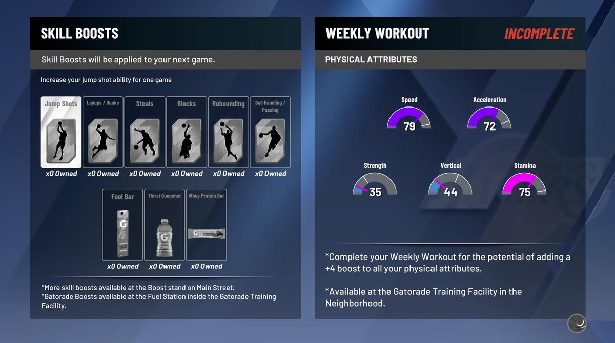 There are weekly workouts that temporarily increase physical attributes.   Credit to @Kamino_Ken via @NBA2KonReddit<br>http://pic.twitter.com/XDQbdm1hUr