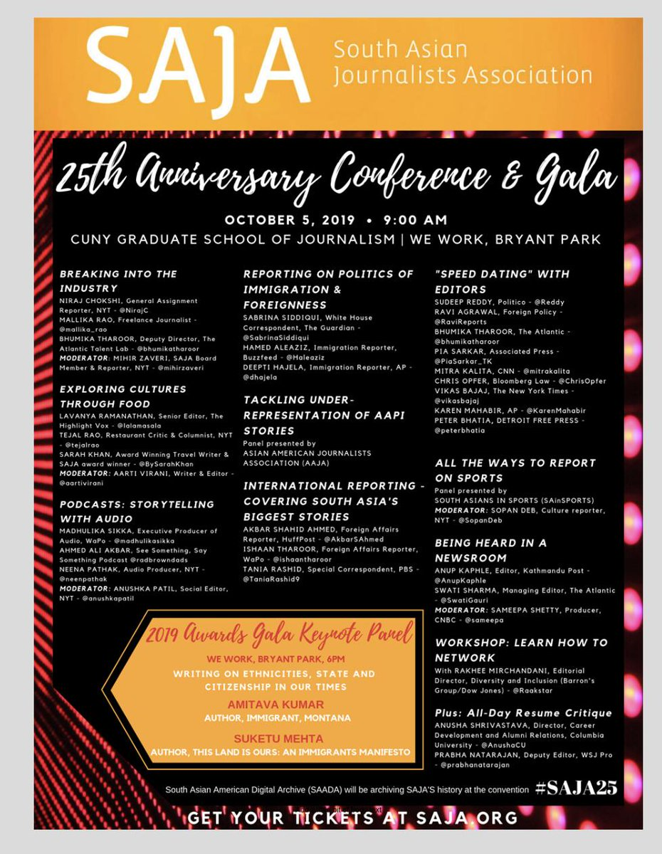 A landmark year for @sajahq which began 25 years ago and has made a meaningful difference in US Journalism as it relates to South Asian journalists: Sign up for Oct 5 25th Anniversary Conference and Celebration in NYC here: http://www.saja.org/event-3527168