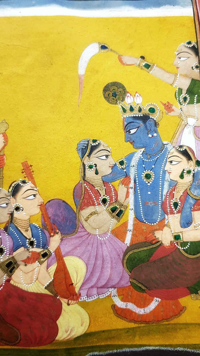 Manaku: Krishna surrounded by Gopis Gita Govinda, Guler, c1750 V&A