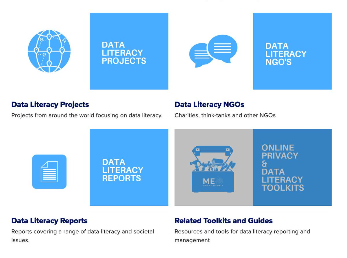 ℹ️ did you know that our website has dedicated sub-sections where we share links to useful #dataliteracy resources? You can find out more by going to our website bit.ly/meandmybigdata & choosing 🖱️ the resources section. *is there anything weve missed? Please let us know :)