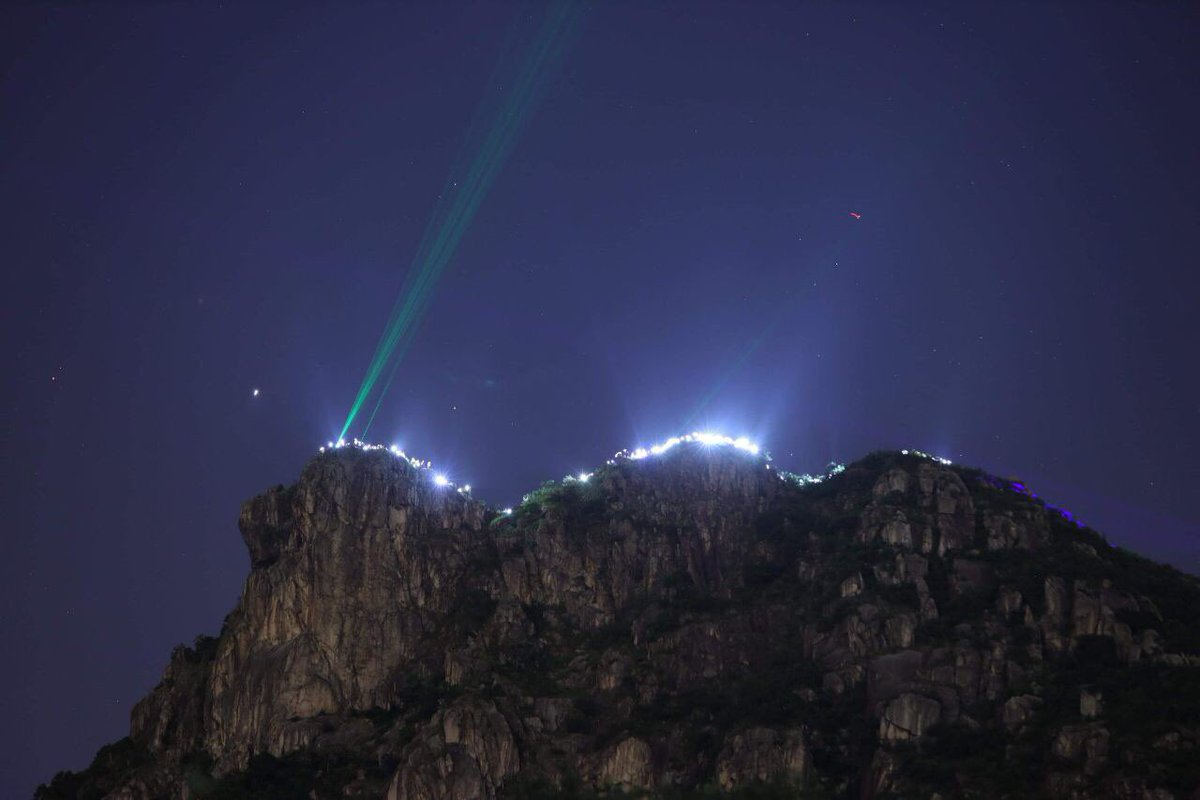 Hong Kong Way is lighting up Lion Rock, the iconic mountain symbolising the citys spirit. (Pic: Telegram)