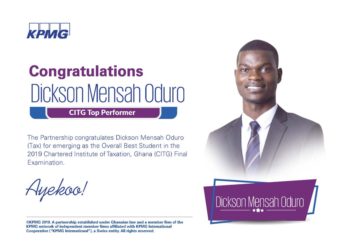 Warmest congratulations to Dickson Oduro Mensah for emerging as the Overall Best Student in the 2019 Chartered Institute of Taxation, Ghana (CITG) Final Examination.  We are so pleased to see you accomplishing great things!  #KPMGProud #CIT <br>http://pic.twitter.com/0jcrZa27HQ