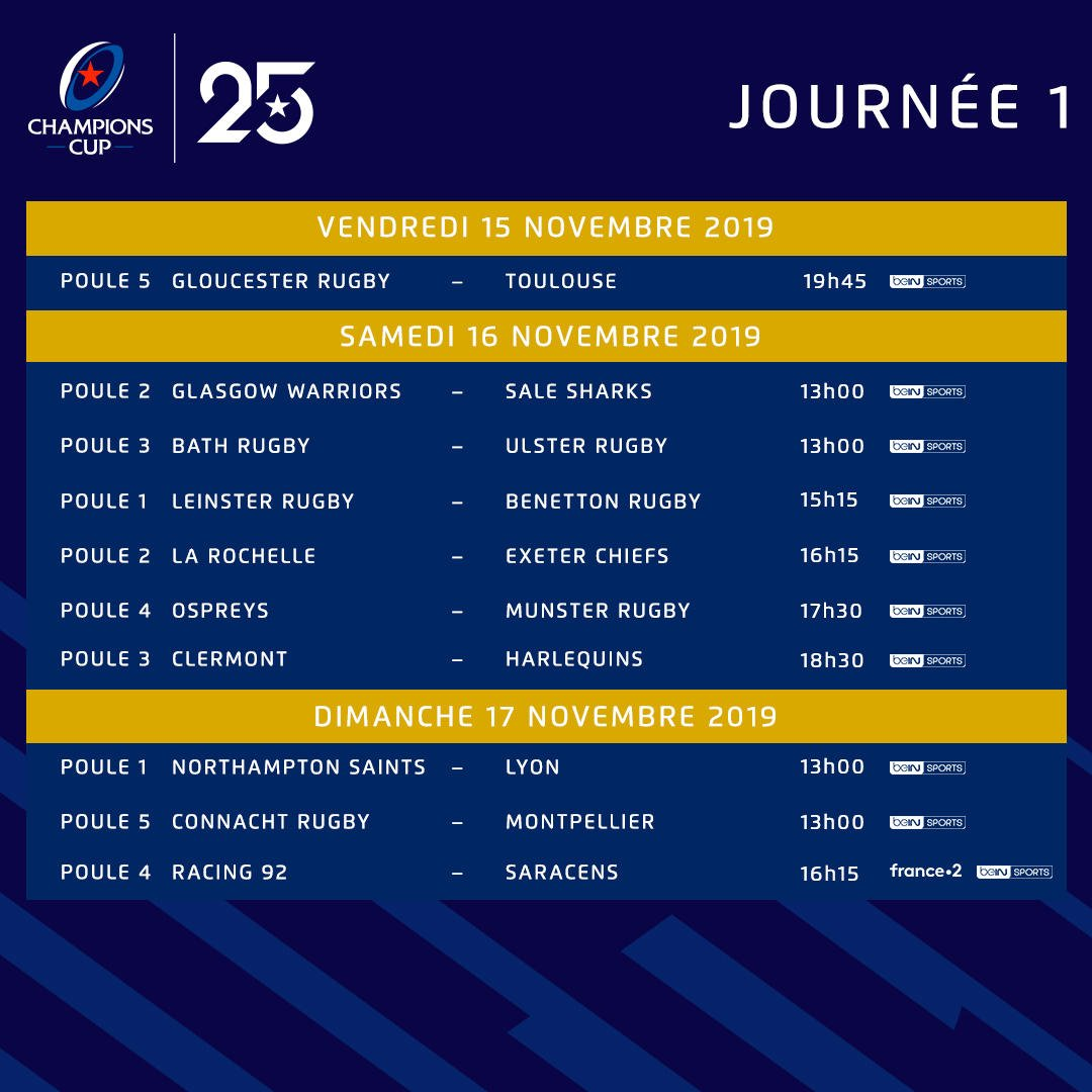 Calendrier Champions Cup 2019.Champions Cup France בטוויטר Le Calendrier 2019 20 Est