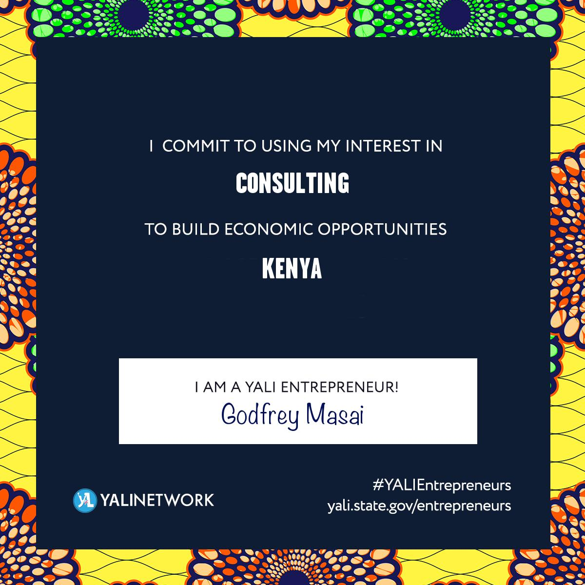I commit to using my interest in Consulting, To Build Economic Opportunities in Kenya  @YALIRLCEA  #YALIEntrepreneurs<br>http://pic.twitter.com/GiaC7tycDI