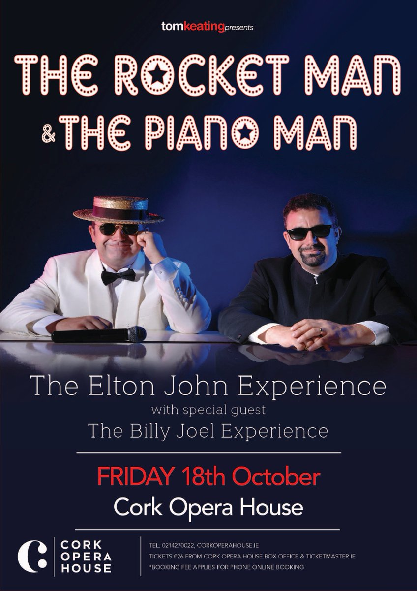 ON SALE NOW! Cork Opera House The ultimate Elton John Experience with special guest The Billy Joel Experience. Friday 18th October 2019, 8pm €26*  The Rocket Man and The Piano Man is an amazing intimate tribute to superstars Elton John and Billy Joel. https://t.co/UHP66LXLPj