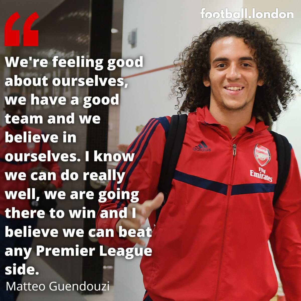 Matteo Guendouzi is confident for this weekend and Arsenal's chances throughout the season  <br>http://pic.twitter.com/bAXYyQwuZl