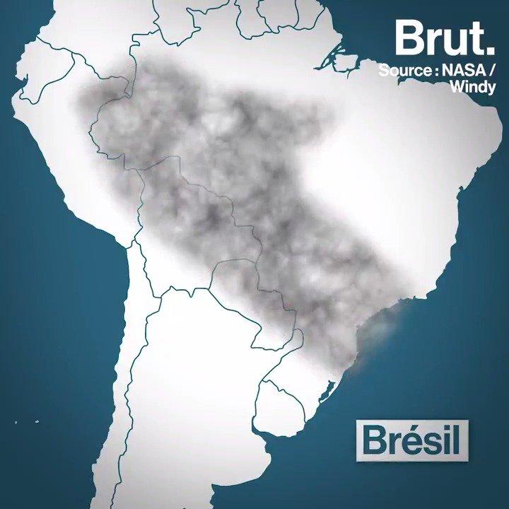 Un gigantesque nuage de fumée sest formé au-dessus de lAmazonie. Voilà ce que représente son étendue rapportée à dautres régions du monde.