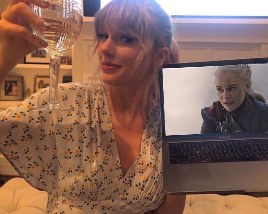 """""""what was interesting about the 'game of thrones' finale was that it was a really accurate representation of how society treats successful women like daenerys. we want to see women gain power but never let them maintain it for long."""" — taylor swift <br>http://pic.twitter.com/tkOKGysRsJ"""