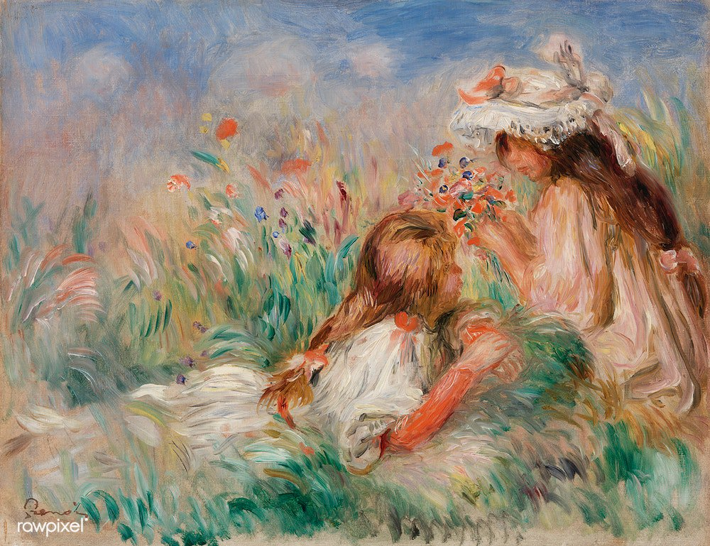 Girls in the Grass Arranging a Bouquet (Fillette couchée sur l'herbe et jeune fille arrangeant un bouquet) (1890) by Pierre-Auguste Renoir. Original from Barnes Foundation. Digitally enhanced by rawpixel. Download this image: https://t.co/umxQLbXnI5 https://t.co/hzq3x3CiSG