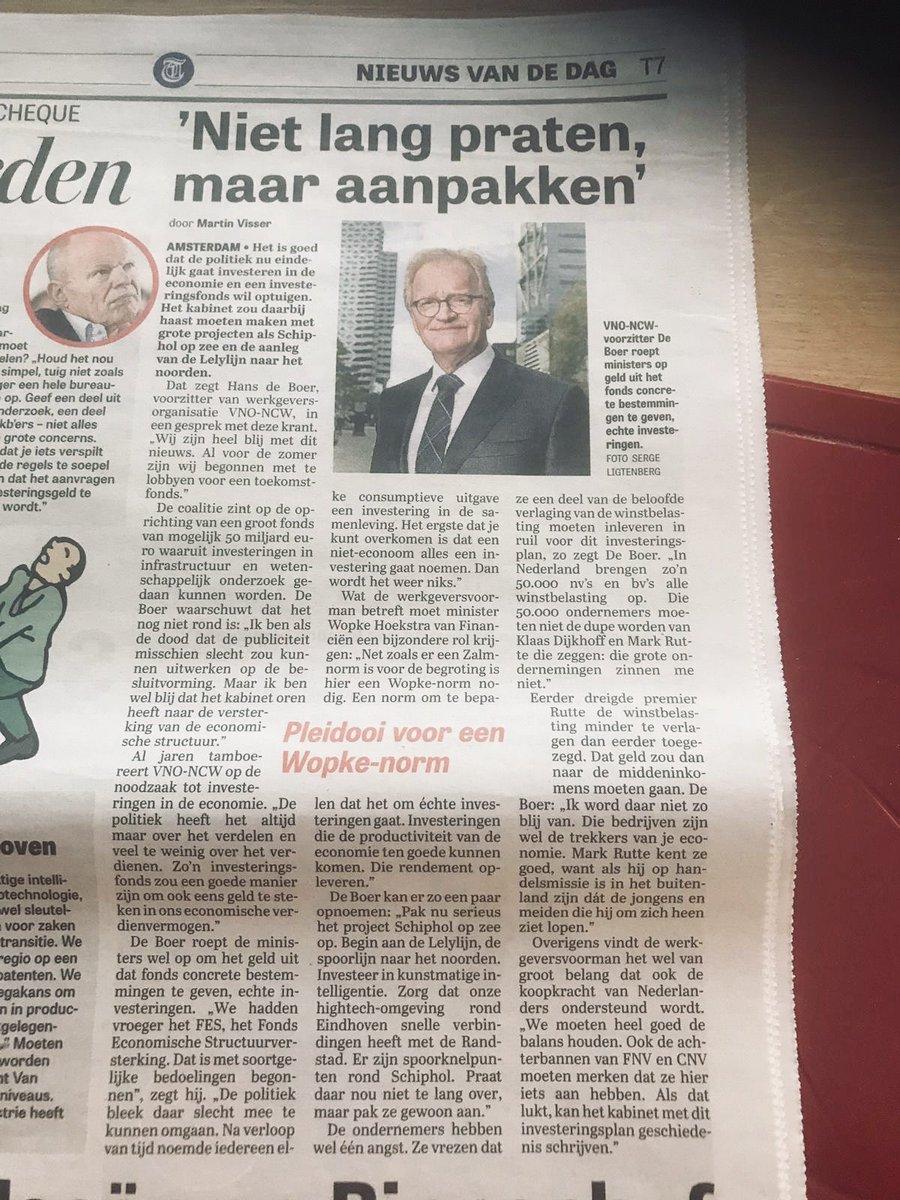 """""""Niet lang praten, maar aanpakken"""", zegt @VNONCW-voorzitter Hans de Boer vandaag over de aanleg van de Lelylijn. @telegraaf https://t.co/V8CbH8PYL3"""