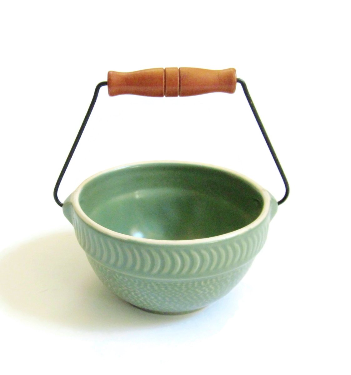 Country Crock Berry Bowl Tender Heart Treasures 1990's Bail-wire & Wood Handled Small Decorative Matte Or Satin Glazed Green Stoneware https://etsy.me/31VTRcD #housewares #bowl #green #entryway #countrybowl #crockbowl #farmhousebowl #berrybowl #1990scrockbowl