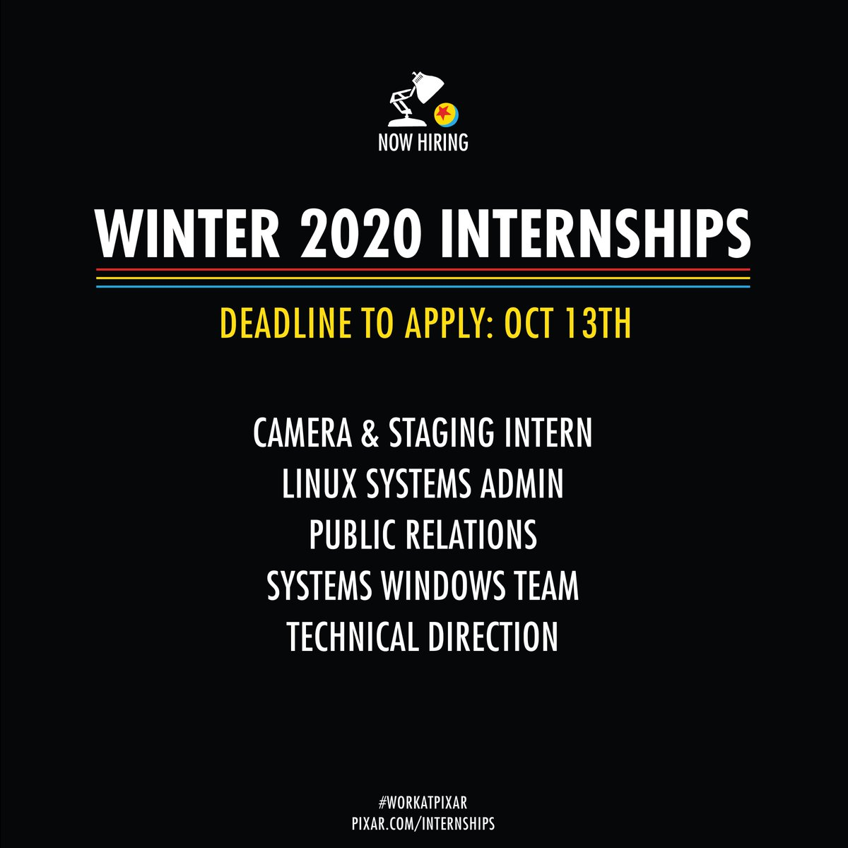 🚨 Now Hiring ❄️Winter 2020 Interns! 🚨Apply today: http://tinyurl.com/y69kytmz🗓️Deadline to apply: October 13th#WorkAtPixar #PixarInterns