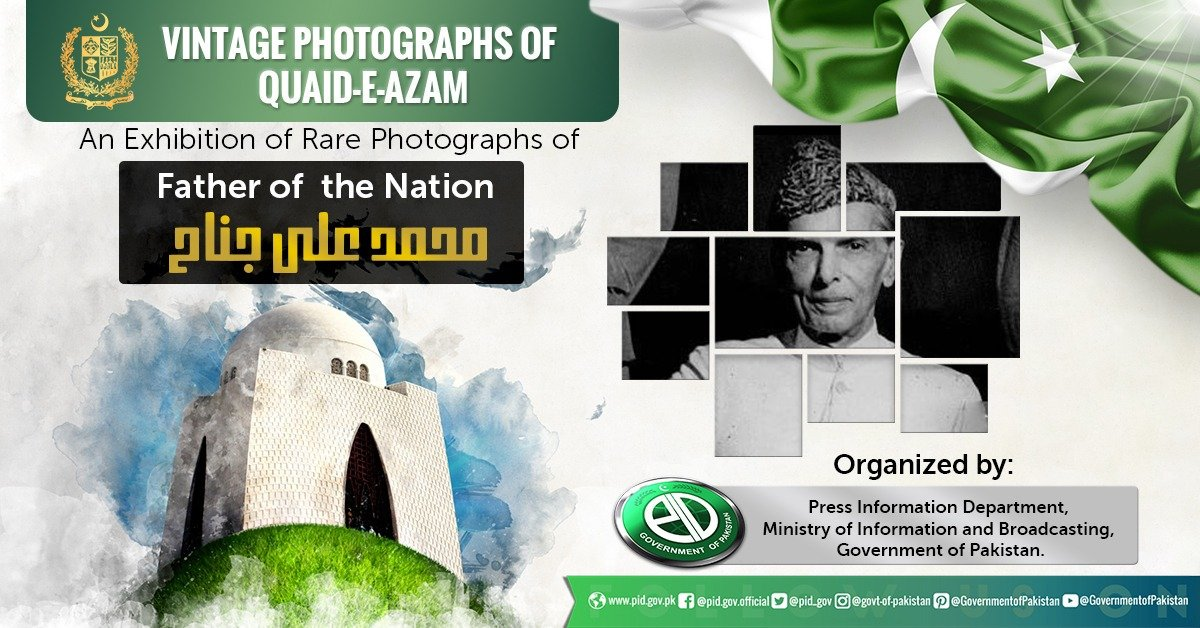 Press Information Department (PID) is organizing an exhibition of Vintage Photographs of Quaid-e-Azam Muhammad Ali Jinnah which are exclusively available in Pictorial Record of the PID. The exhibition will be held on 25th of August at Fatima Jinnah Park, F-9 Islamabad from 9-5PM. <br>http://pic.twitter.com/XTTNjbjRqj