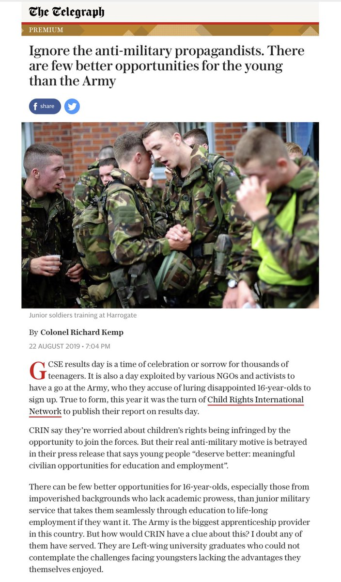 Yesterday the Guardian promoted a report attacking the UK's policy of recruiting under-18s in the forces in a news item & a leading article. Here is my article in today's Telegraph on that report.