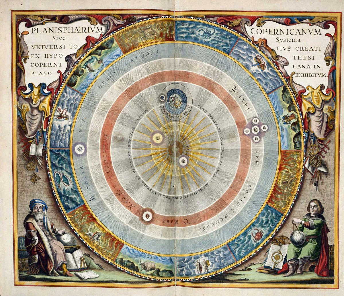 A beautiful hand-colored engraving from the 1543 book 'On the Revolutions of the Celestial Spheres', by Nicolaus Copernicus.