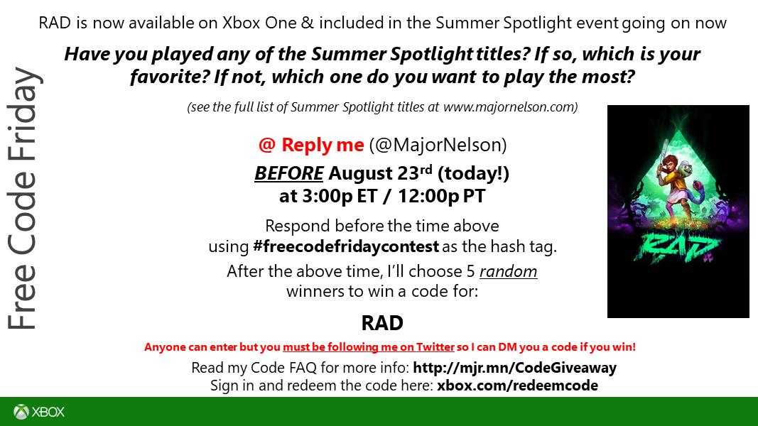 "<a href=""https://twitter.com/search?q=freecodefridaycontest"" rel=""nofollow"" title=""#freecodefridaycontest"" target=""_blank"">#freecodefridaycontest</a> time. Read this and you could win a code for RAD on Xbox One. Good luck. https://t.co/VLsWHWNcRO."