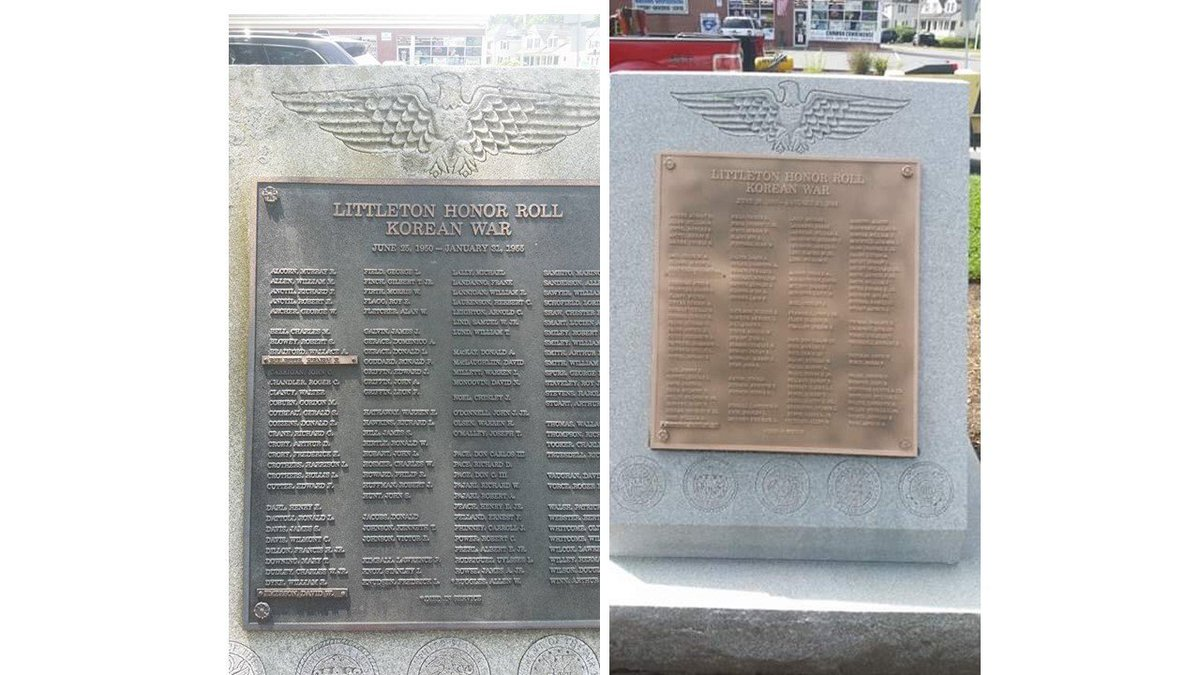 Amazing before and after transformation of Korean War monument at the Edgar P. Romilly Veterans Corner in @TownofLittleton #LestWeForget
