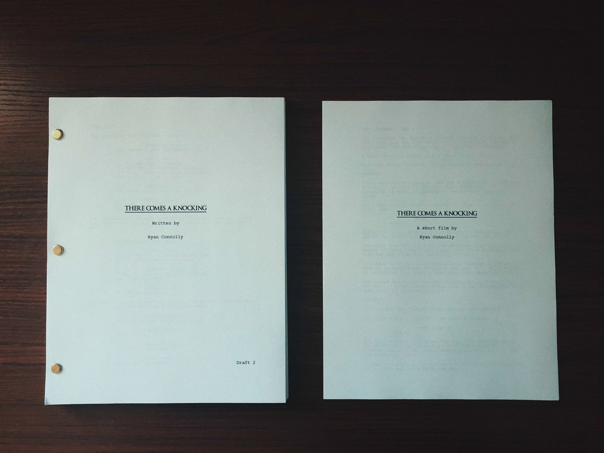 On the left - the 2nd draft of the first feature I've written & what I hope will be my 1st feature as director… On the right - a short film that will act as proof of concept for pitching the feature.  We shoot the short Sept 14th-15th with a release in late October!  Here we go. <br>http://pic.twitter.com/MVcR8GYGNV