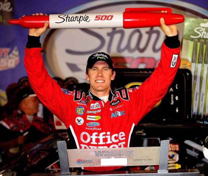 On this date in 2008: Carl Edwards brought it home at @BMSupdates!   Quality driver, quality trophy ��