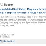 GSA's findings from the consolidated solicitation requests for information (RFIs) are now available, along with a new FAQ! https://t.co/8RCxqWSdOs