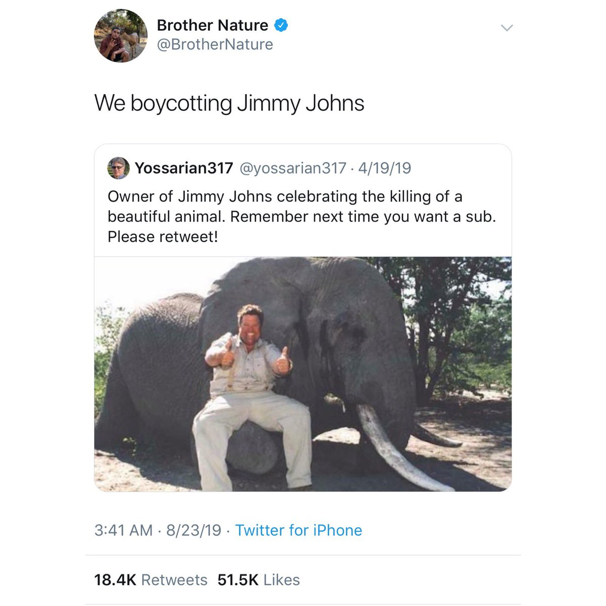 Few times a year this pic of the founder of Jimmy Johns goes viral. It almost always starts trending and everyone is shocked!   Tons of retweets!   But this pic is from years ago and meanwhile 🐘 are facing a real crisis & when people tweet about that, it gets little attention