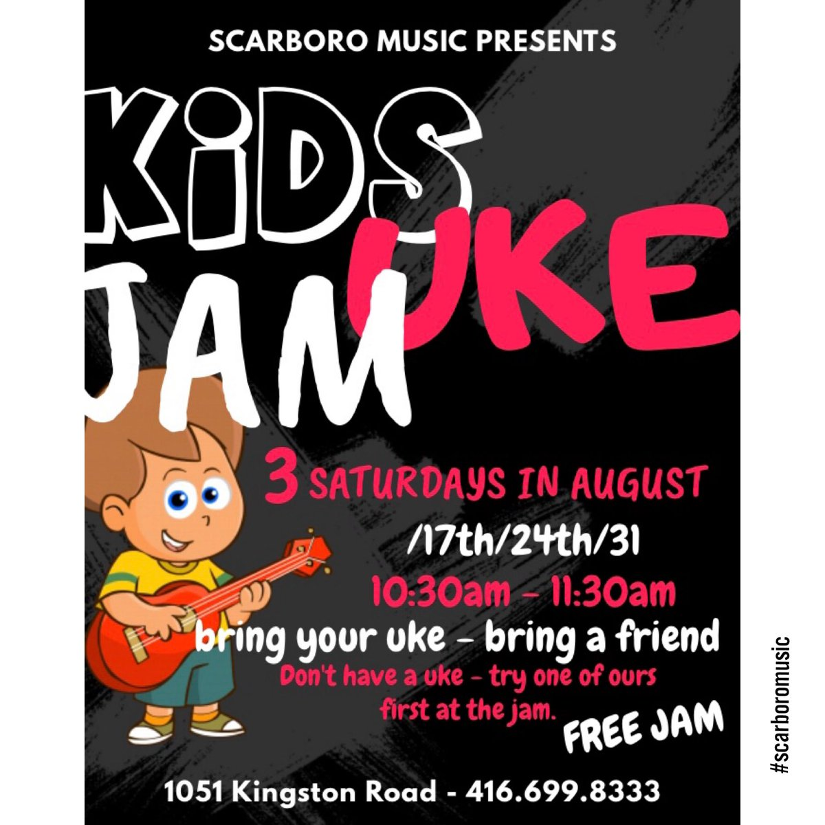 KIDS UKULELE JAM - Saturday @ 10:30am! Come out - learn to play the uke and jam some tunes! Don't have a uke? Come out and use one of ours! Bring your friends, family and furbabies!  #wearemusic #kidsukulelejam #kidsmaking<br>http://pic.twitter.com/BRNJtLY3qu