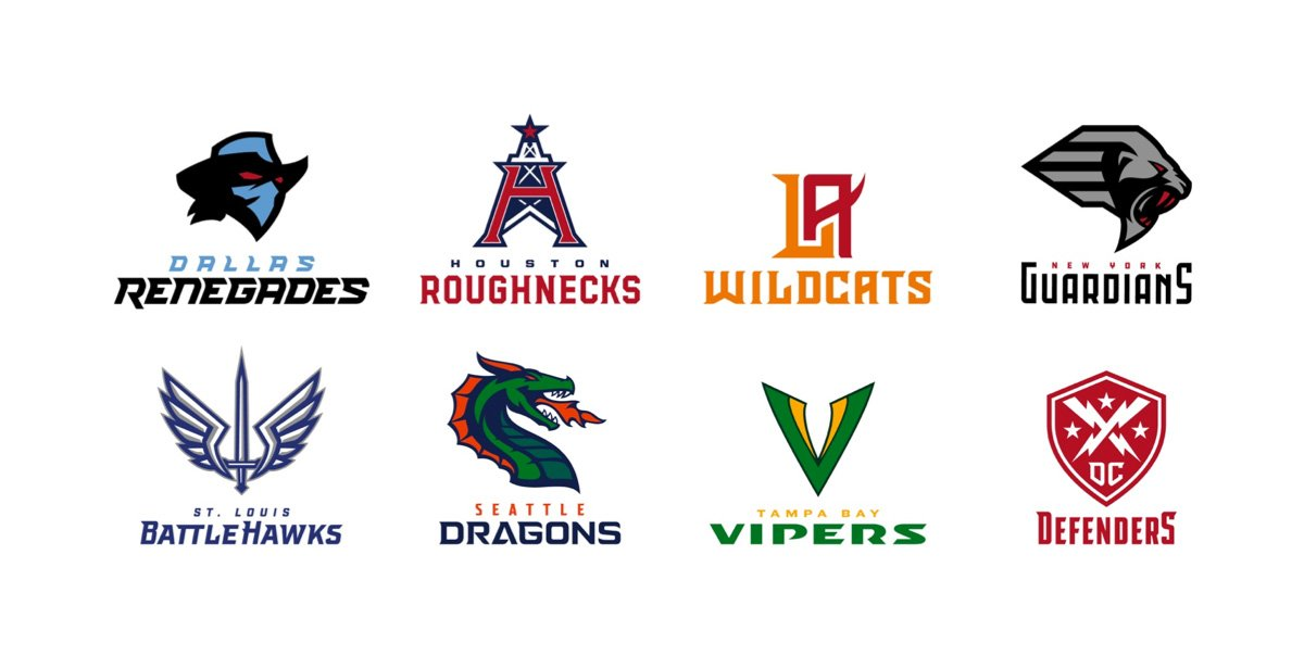 Today on Brand New (Linked): The XFL announces its inaugural set of team names and logos. A linked video has dramatic intros for each team underconsideration.com/brandnew/archi…