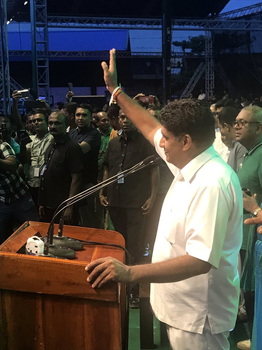 Huge crowds at Matara to welcome @sajithpremadasa at rally organized by @MangalaLK. I always knew that people of #SriLanka liked him, but t reception was electrifying; exceptional for a politician. We r on to something special. #Sajith4NewSL