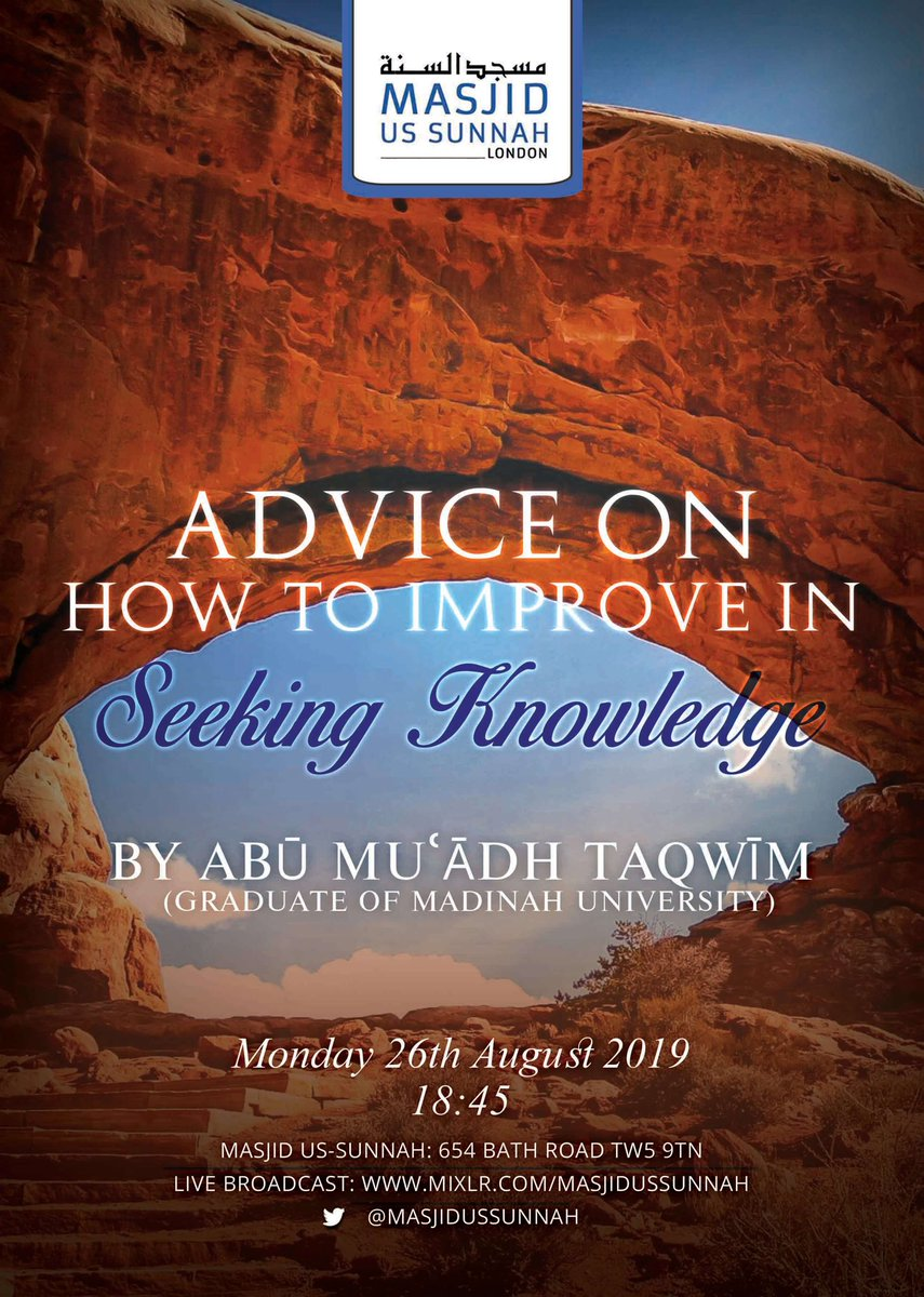 ⤛  LIVE LECTURE ⤜  ✶❀✶❀✶❀✶❀✶❀✶❀✶❀✶❀✶❀✶             ❝ Advice on How to        Improve In Seeking Knowledge❞  By Our Noble Brother Abū Muāʿdh  (@AbuMuadhTaqweem) حفظه الله   This Bank Holiday Monday {26th August}  18:45  All Welcome!<br>http://pic.twitter.com/przbsFUeJF