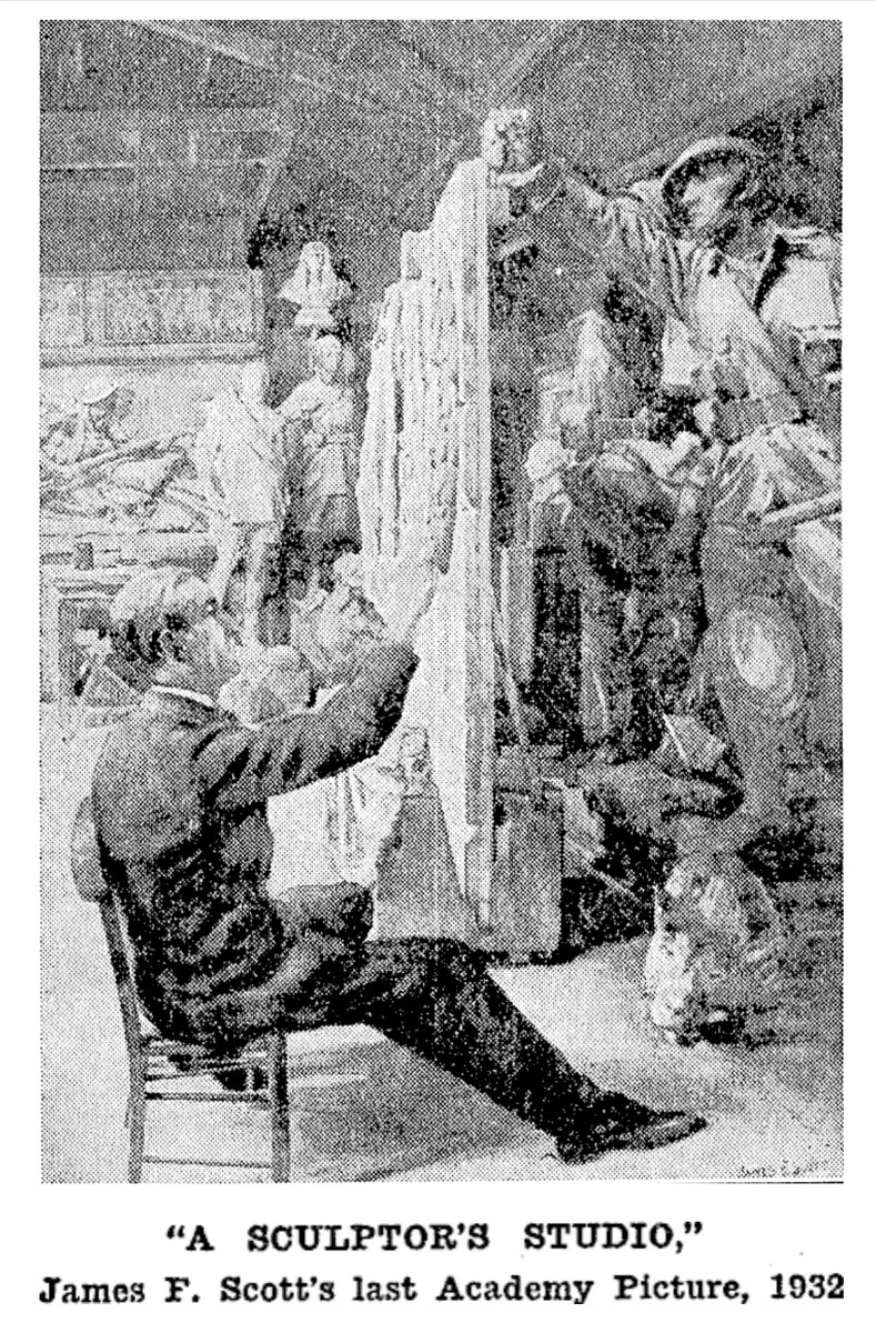Published reproduction of final painting by New Zealand-born, one-time Australian Official War Artist, James Fraser Scott (1877–1932). The destitute St John's Wood artist was told it would be exhibited at the Royal Academy only hours before his premature death on Anzac Day 1932.