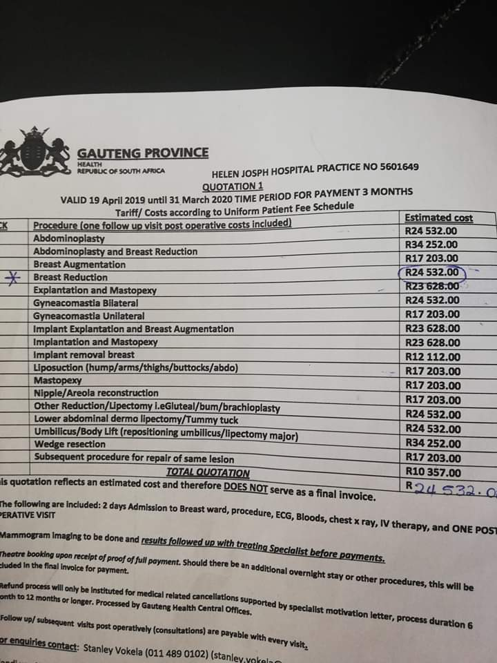 Thando Omuhle On Twitter Breast Reduction Prices At Helen Joseph Hospital Ladies Girltalkza Girltalkza Girlstalkza