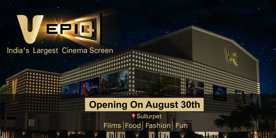 #VEpiq Sullurpet, Nellore District, AP. 3rd Largest Screen in the world and the largest in South Asia!. Opening with #SaahoOnAugust30 #Saaho  <br>http://pic.twitter.com/Cjqm0NXGxK