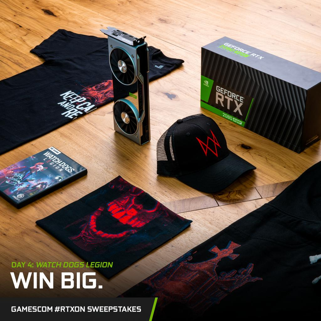 Welcome to the Resistance.   Our #RTXOn Gamescom Sweepstakes continues with Watch Dogs: Legion day!  Share and comment on any of our @watchdogsgame content today for a chance to win this loaded gear bundle + an RTX 2080 SUPER GPU.<br>http://pic.twitter.com/GLWFeJRMSX