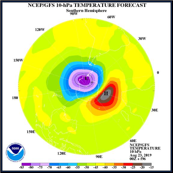 Posible calentamiento súbito estratosférico en el hemisferio sur. No sé produce uno desde 2002 y es el único hasta ahora registrado. Este sería el segundo.