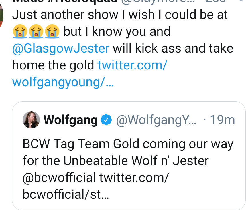 Make it official @bcwofficialWolfy & @GlasgowJester win, and next show we are crowned undisputed BCW Tag Team Champions.