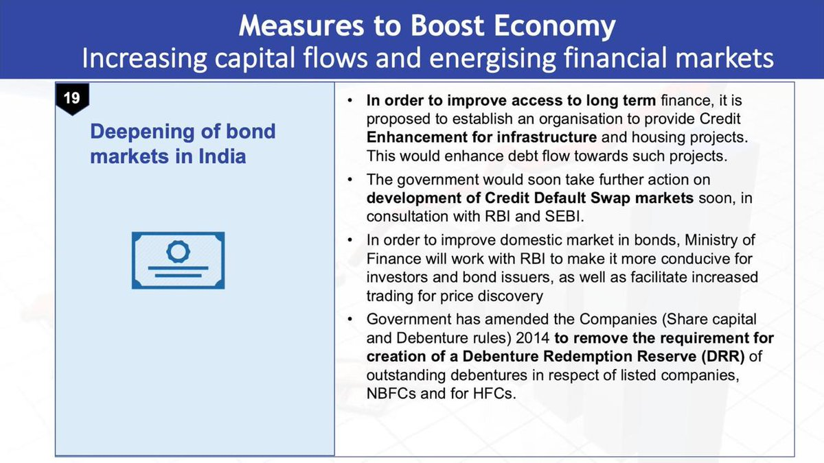 Measures to boost economy: Increasing capital flows and energising financial markets  • Access of Indian companies to the global markets.  • Use of aadhaar based KYCs for domestic retail investors.  • Simplified KYC for foreign and investors and FPIs. <br>http://pic.twitter.com/CQeH5Z6jEI