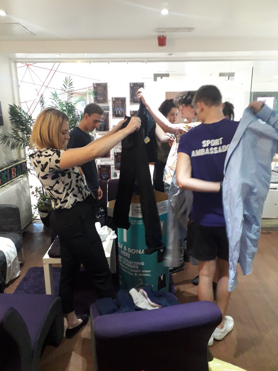 Exec team giving a hand to sort out and try on all the fantastic donations for Suitably Dressed. Look out for our donation bins across campus and help students with smart clothes for interview or events. @lborouniversity @LoughboroughSU @LSU_Enterprise