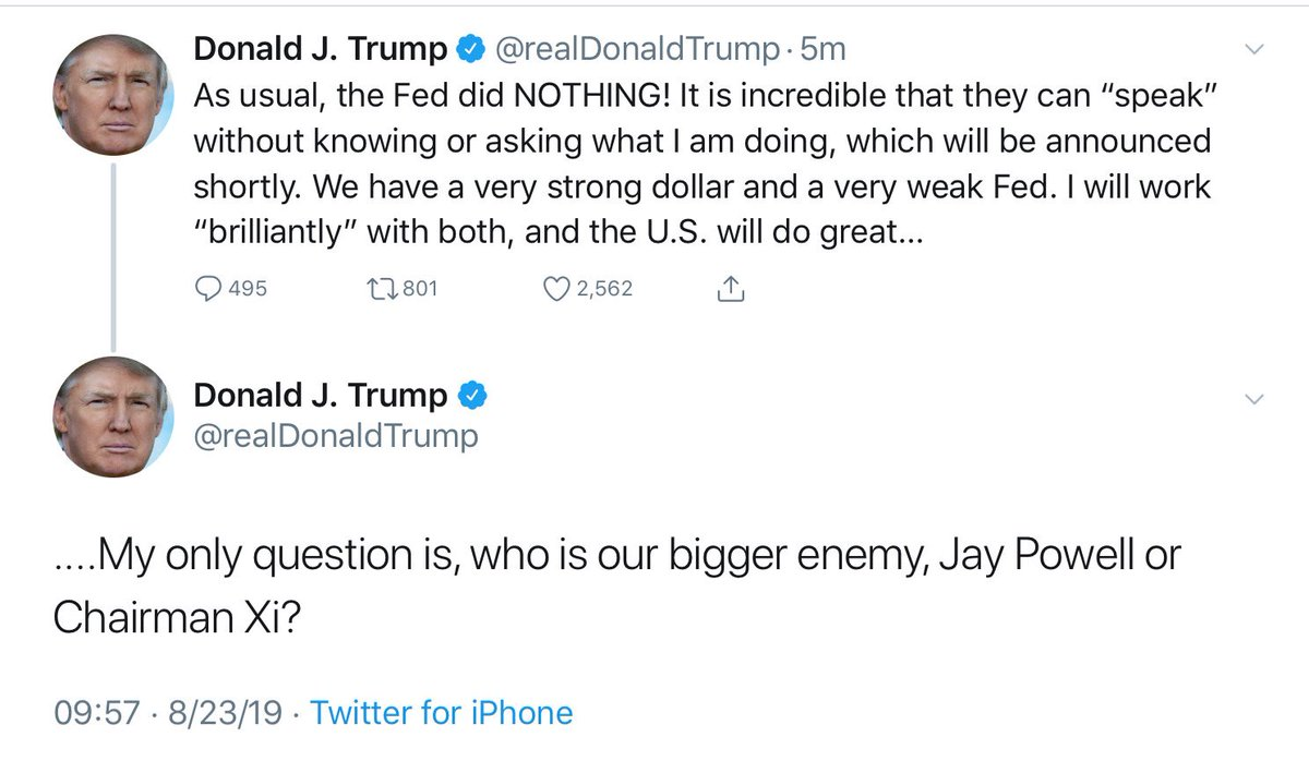 He is a madman.  I am not being hyperbolic.  Trump just implied that the Chairman of the Federal Reserve Board is an enemy of the United States.