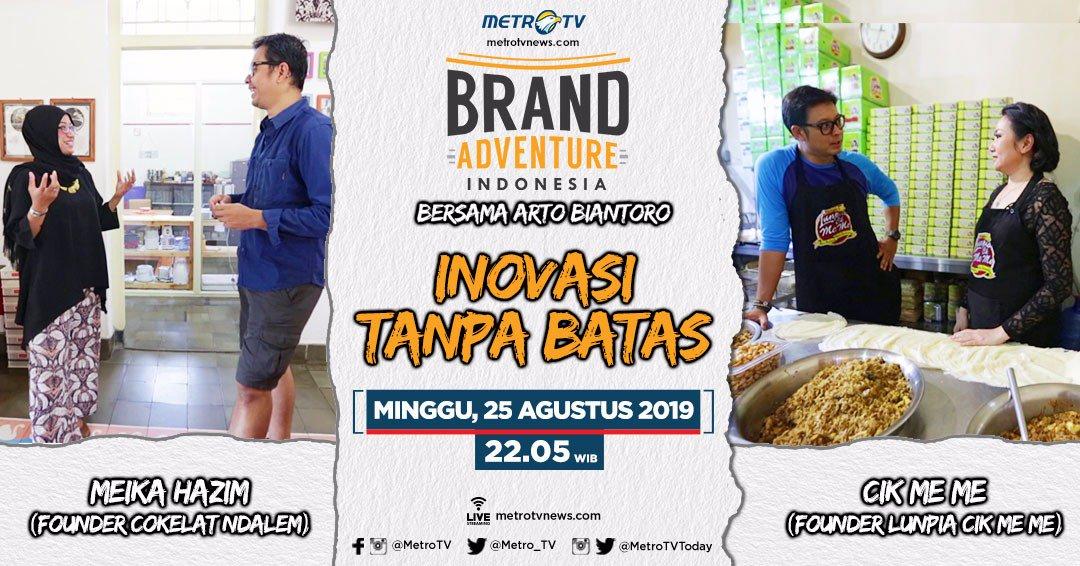 """Pekan ini, Arto Biantoro akan bertemu founder dari Cokelat Ndalem dan Lunpia Cik Me Me. Seperti apa inovasi-inovasi yang sudah dilakukan oleh kedua brand tersebut? Tonton selengkapnya di #BrandAdventureIndonesia eps """"Inovasi Tanpa Batas"""" Minggu (25/8) pkl 22.05 WIB. #BAIMetroTV"""