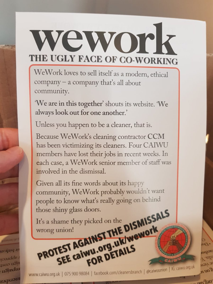 Our new leaflets about our problems with WeWork and CCM have arrived to the office! See caiwu.org.uk/wework for more details about getting involved and supporting us!
