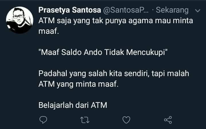 Bener juga, masa manusia kalah sama mesin ATM.Thanks to @SantosaPrasetya