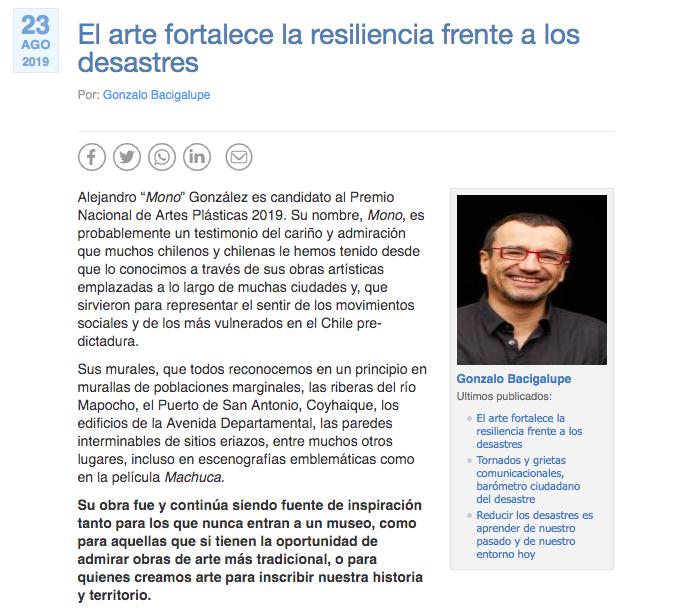 """RT @CIGIDEN """"El arte fortalece la resiliencia frente a los desastres"""", dice el investigador de CIGIDEN y académico de la @UMassBoston, @bacigalupe, en columna en radio @Cooperativa.    https://t.co/MA8wsL4lwH via @Cooperativa"""