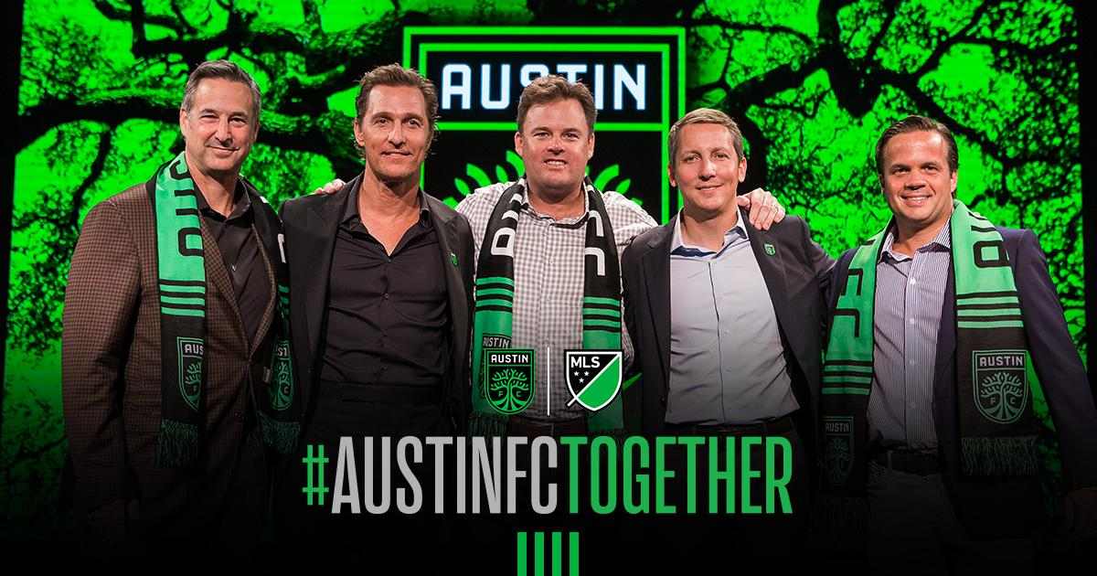 Austin FC majority partner and CEO of Two Oak Ventures @APrecourt introduces new @MLS Austin FC's local ownership partners: Eduardo Margain, Matthew McConaughey, Bryan Sheffield, and Marius Haas.  More:  https:// bit.ly/2Pr6ZFp      Español:  https:// bit.ly/324onkJ       #AustinFCTogether<br>http://pic.twitter.com/e0dTxS65Df