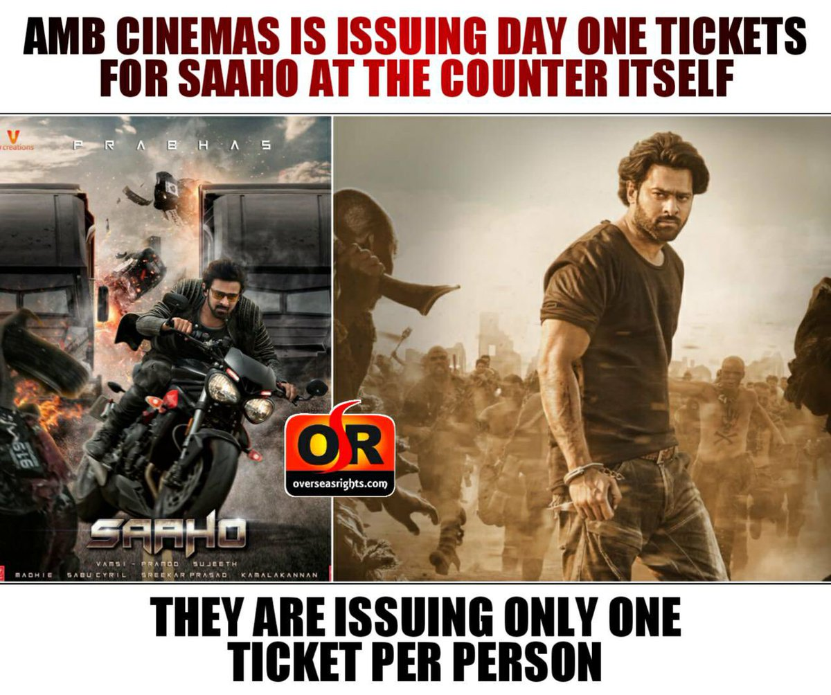 #MaheshBabu's #AMBCinemas is issuing #Prabhas's #Saaho tickets at the counter one per person.   Get your tickets now .   #SaahoinCinemas #SaahoEmoji #SaahoOnAugust30 #SaahoIn7Days <br>http://pic.twitter.com/17rUQcgBqf